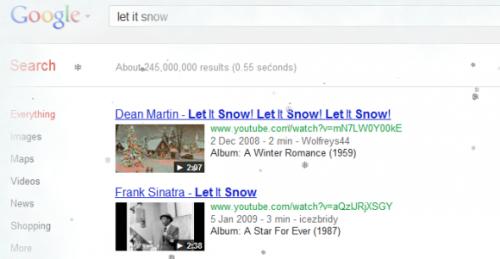 Let it snow! На Google пошёл снег.