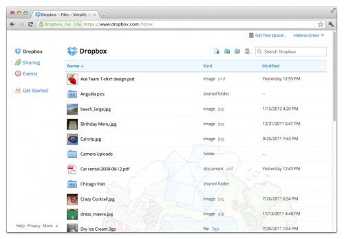 В Dropbox изменился веб-интерфейс