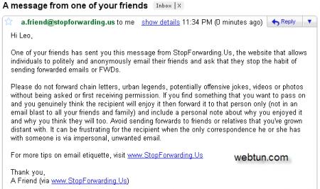 """Сервис StopForwarding.Us - """"борьба"""" с пересылкой спама"""