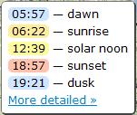 SunCalc - калькулятор восхода и заката солнца