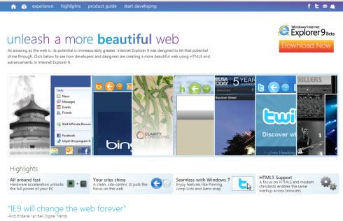 Microsoft представила бета-версию браузера Internet Explorer 9