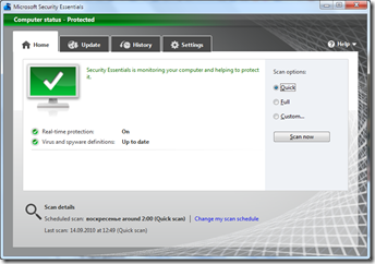 Вышла новая бетка антивируса Microsoft Security Essentials