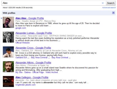 Поиск по учетным записям Google Profile