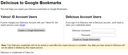 Google выпустила импортёр закладок из Delicious