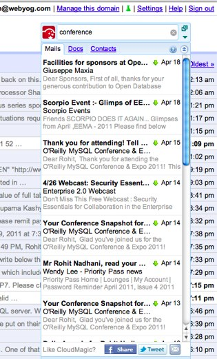 CloudMagic — мгновенный поиск по данным Gmail, Docs и Contacts