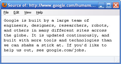 ���� Humans.txt �� Google