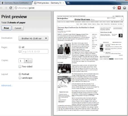 В бете Chrome появилась поддержка «мгновенных страниц» и предварительный просмотр печати