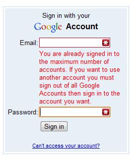 Мульти-логин в Google поддерживает 10 аккаунтов