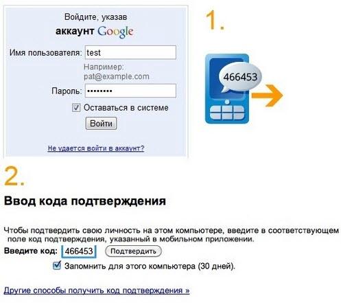 Двух этапная аутентификация для повышения безопасности своего Google аккаунта.
