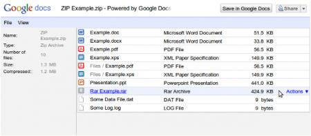 � Google Docs ��������� ��������� ��� ��������� ����������� ZIP / RAR ������ ������