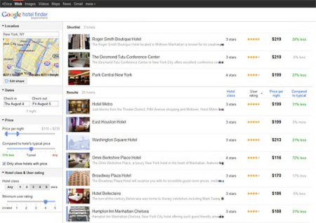 Google запустил сервис Hotel Finder