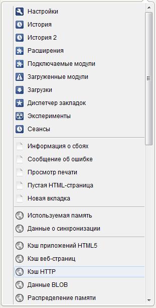 Cлужебные страницы Google Chrome