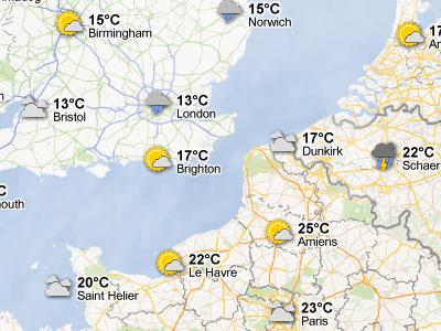 В Google Maps появился слой погоды