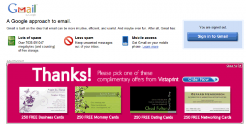 Gmail тестирует показ огромной рекламы с изображениями