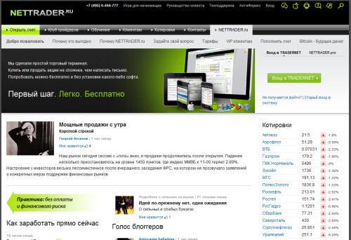 Интернет-трейдинг от Nettrader.ru: покупка и продажа акций на биржах