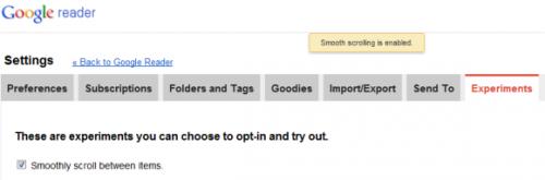 Приятная мелочь  в Google Reader — Плавная прокрутка