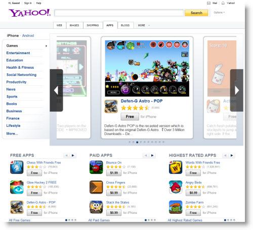 Yahoo! запустила систему поиска приложений для iOS и Android
