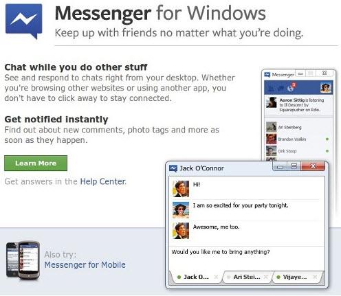 Facebook представил онлайн-мессенджер для Windows