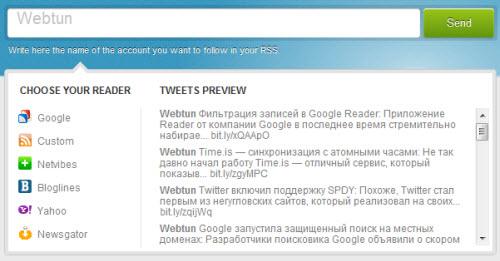 Чтение Twitter при помощи RSS