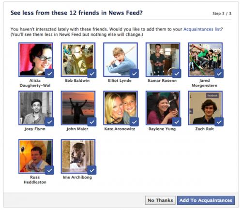 Facebook поможет разделить друзей и знакомых