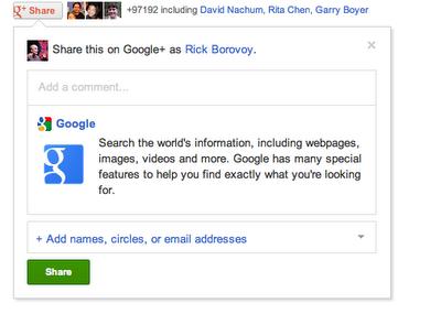 Google+ получила кнопку для публикации данных с сайтов прямо в социальную сеть