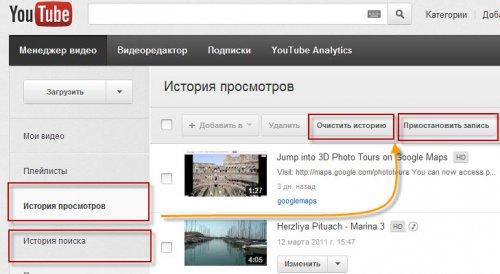 История поиска и история просмотров на Youtube