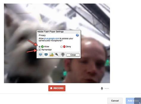 Google+ позволяет записать видеообращение