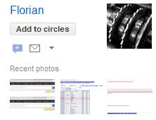 Виджет пользователей в Gmail показывает недавние фотовложения