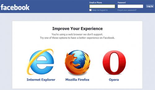 Opera заменила Chrome в рекомендациях Facebook