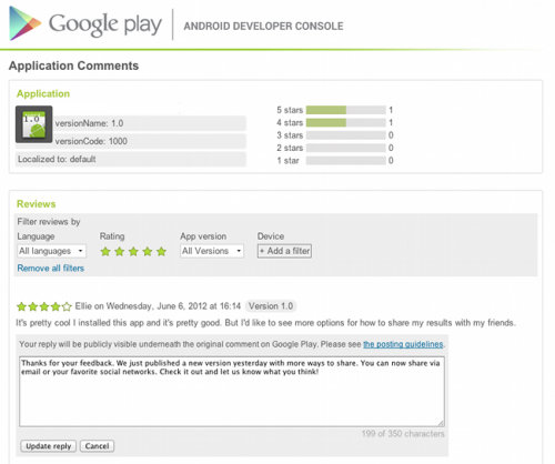 Разработчики смогут отвечать на комментарии в Google Play