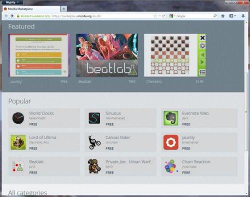 Mozilla запустила магазин приложений в рамках предварительной сборки Firefox 16