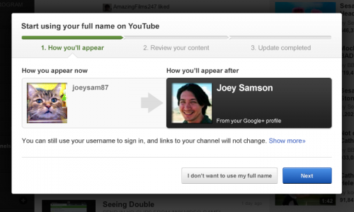 YouTube разрешил менять ник на профиль Google+