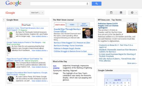 Поддержка iGoogle будет прекращена