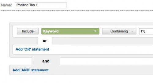 Настройка отображения позиций ключевых слов в Google Analytics с помощью специальных фильтров