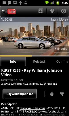 Google разрешила пропускать рекламу в мобильной версии YouTube