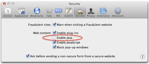 Официальная рекомендация отключить Java-плагин во всех браузерах