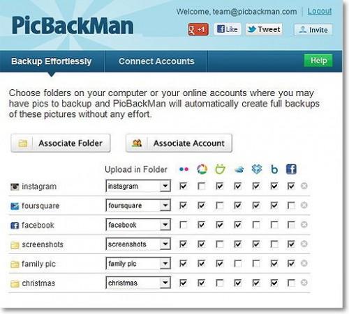 PickBackMan — Автоматическое резервное копирование фотографий c Facebook, Instagram и Foursquare