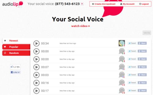 Audiolip: делитесь своими 15-секундными подкастами
