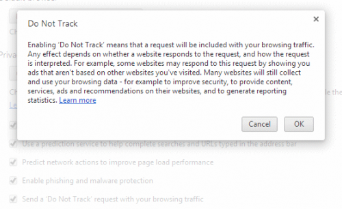 Do Not Track в браузере Google Chrome