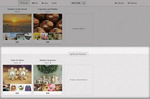 Pinterest добавил тайные блоки для друзей