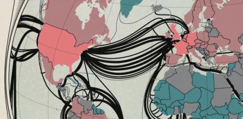 Карта интернет-магистралей мира от TeleGeography