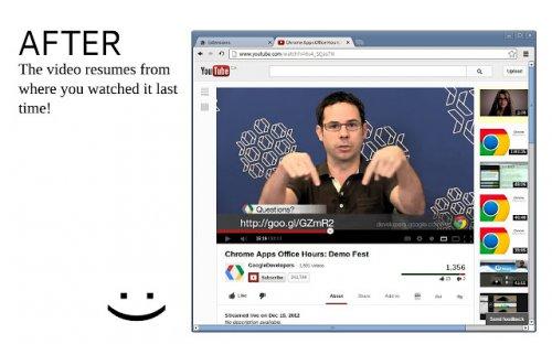 Video Resumer продолжает воспроизведение видео на Youtube с последнего запомненного момента