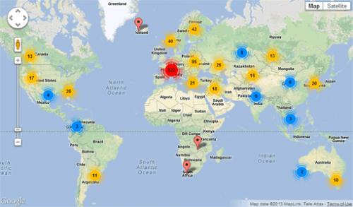 Точки выхода Tor на карте мира