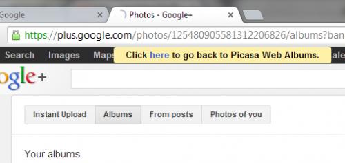 Веб-альбомы Picasa перенаправляют вGoogle+ Photos