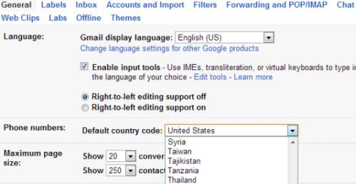 Меняем умолчальный код страны вGmail