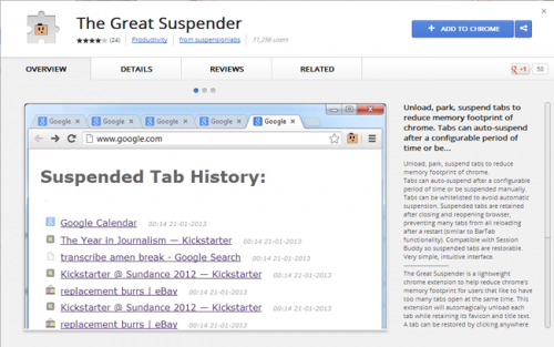 The Great Suspender: эффективное использование памяти в Chrome