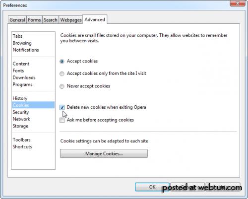 Как автоматически удалять личную информацию при завершении работы браузера