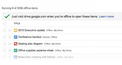 Google Drive научился работать в оффлайне