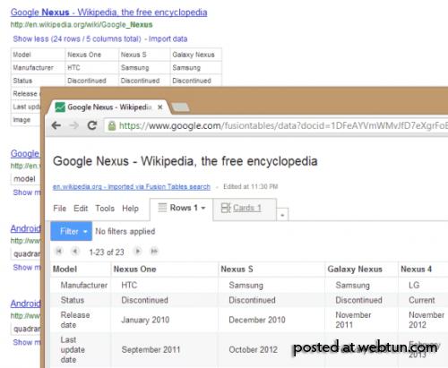 Табличный поиск в Google