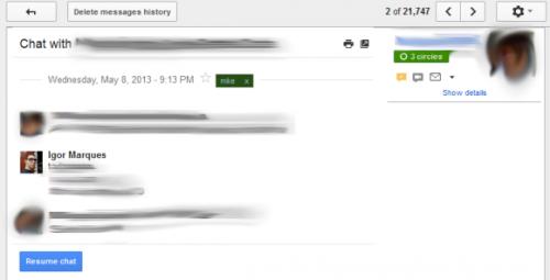 Новый интерфейс истории чатов в Gmail